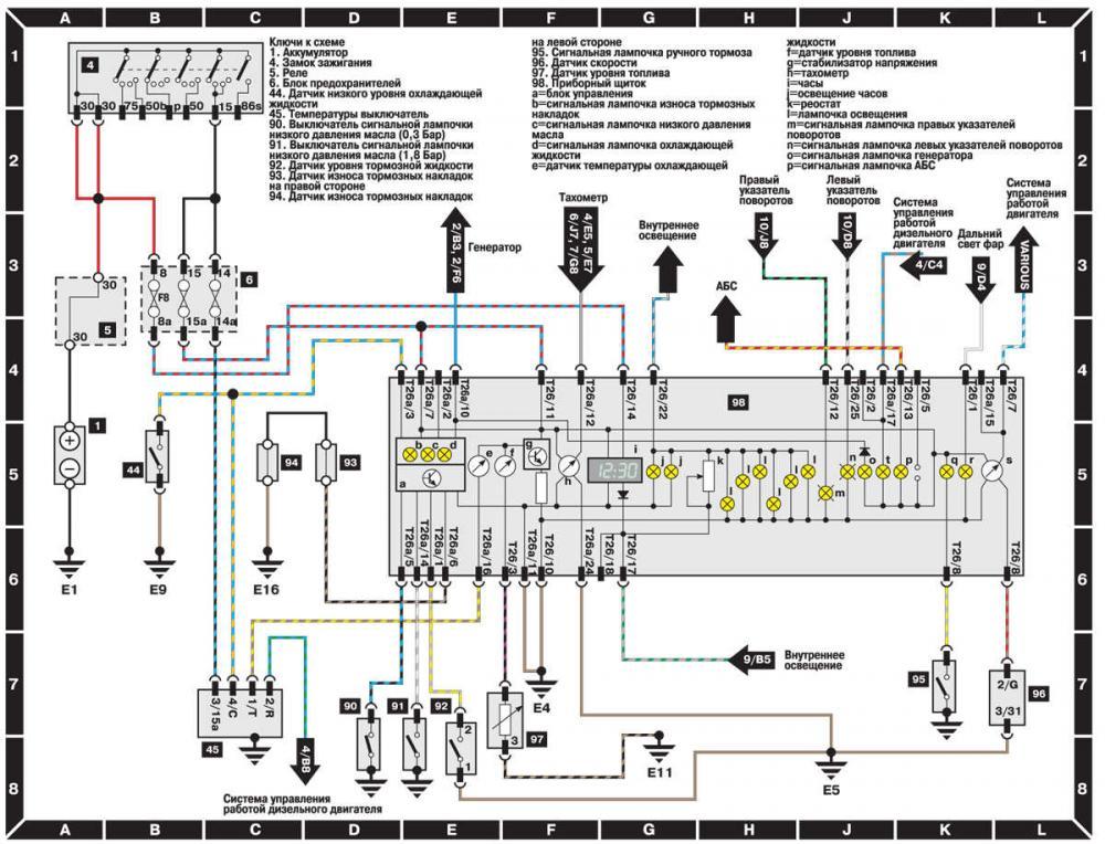 audi a6 c4 провода с тормозных колодок куда идут схема