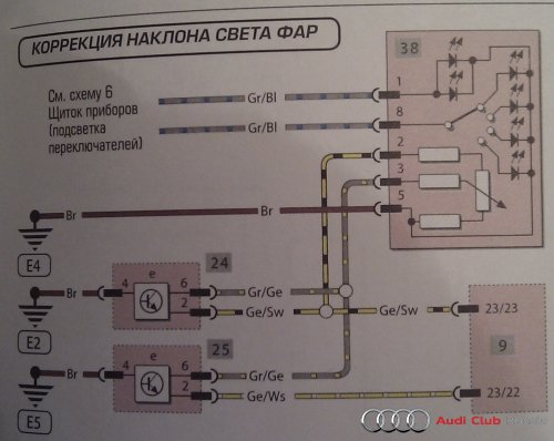 Схема фары ауди а4 б6